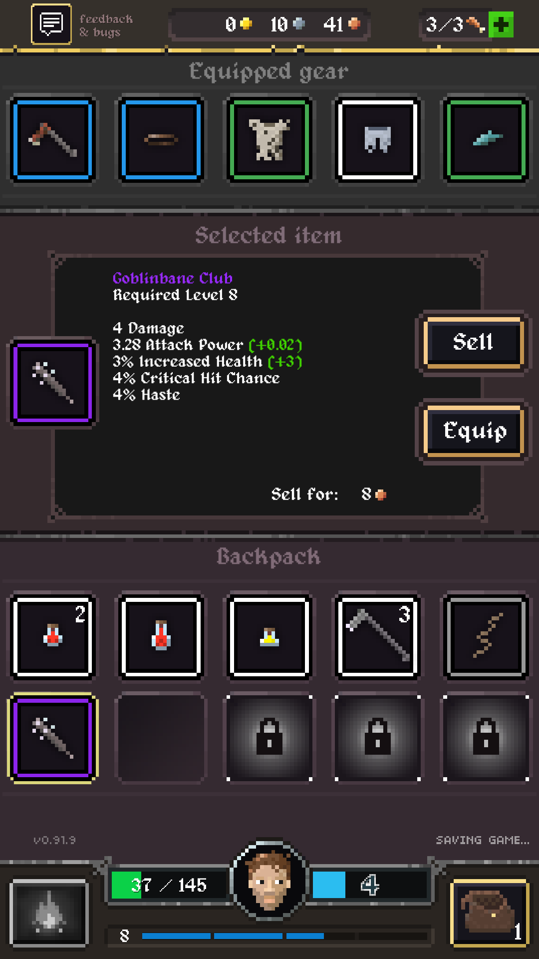 Screenshot of inventory from Legends Dawn: Goblins of Ruin