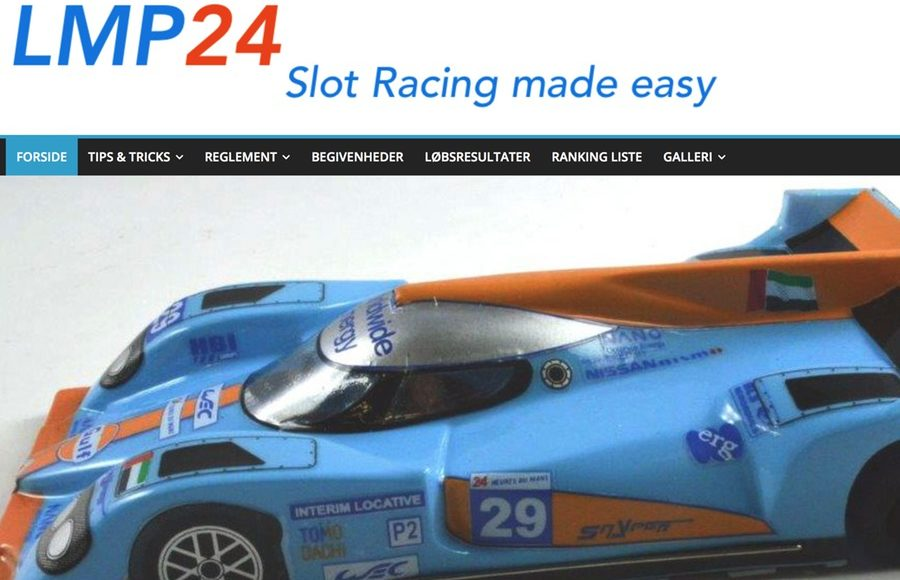 Screenshot of LMP24 Slot Racing Website
